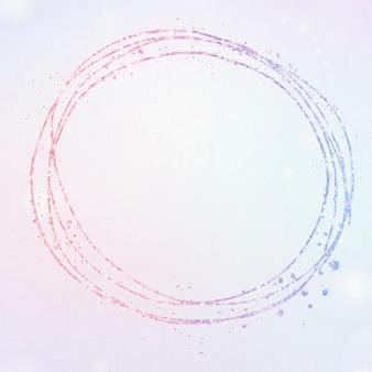 Okrągła kolorowa ramka z brokatem