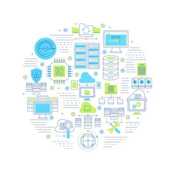 Okrągła kompozycja centrum danych z urządzeniami serwerowymi i systemem bezpieczeństwa, technologią internetową i usługą w chmurze