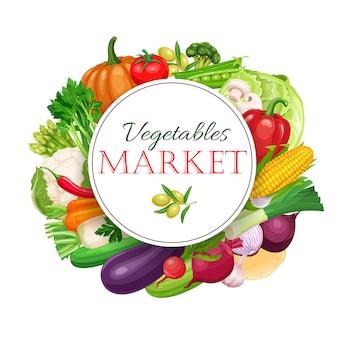 Okrągła kompozycja plakatowa z kolorowymi warzywami