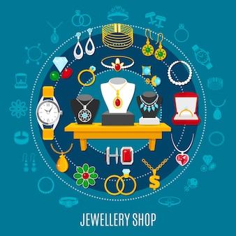 Okrągła kompozycja sklepu jubilerskiego z dekoracjami damskimi i męskimi, w tym zegarek na niebieskim tle
