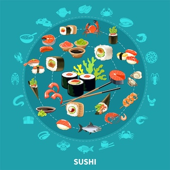 Okrągła kompozycja sushi z płaskim zestawem ikon połączonym w duże koło, kolorową i izolowaną ilustrację
