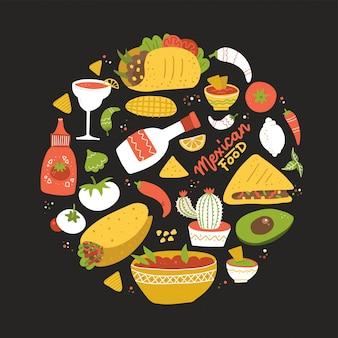 Okrągła kompozycja ze smakiem meksyku. zestaw różnych meksykańskich potraw w kole.