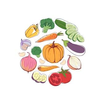 Okrągła koncepcja wegańskie jedzenie