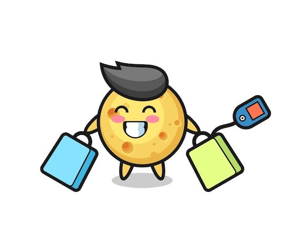 Okrągła kreskówka maskotka serowa trzymająca torbę na zakupy, ładny styl na koszulkę, naklejkę, element logo