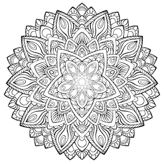 Okrągła mandala do henny, mehndi, tatuażu, dekoracji. dekoracyjny ornament w etnicznym orientalnym stylu. kolorowanka do książki.