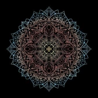 Okrągła mandala gradientu na białym tle. vector boho mandala mandala z kwiatowy wzór