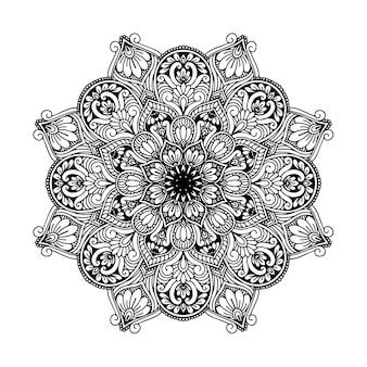 Okrągła mandala kwiatowa do tatuażu, henny lub kolorowanki