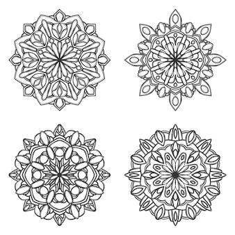 Okrągła mandala na białym tle dla henny lub tatuaż