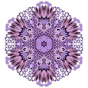 Okrągła mandala z kwiatem. dekoracyjny ornament w etnicznym stylu orientalnym. fioletowy wzór