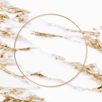 Okrągła miedziana rama na białym marmurowym tle