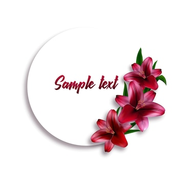 Okrągła naklejka lub karta z realistycznymi liliami