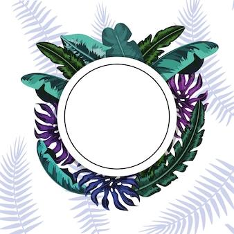 Okrągła naklejka z naturalnymi liśćmi roślin