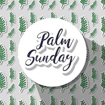 Okrągła naklejka z wiadomością w niedzielę palmową