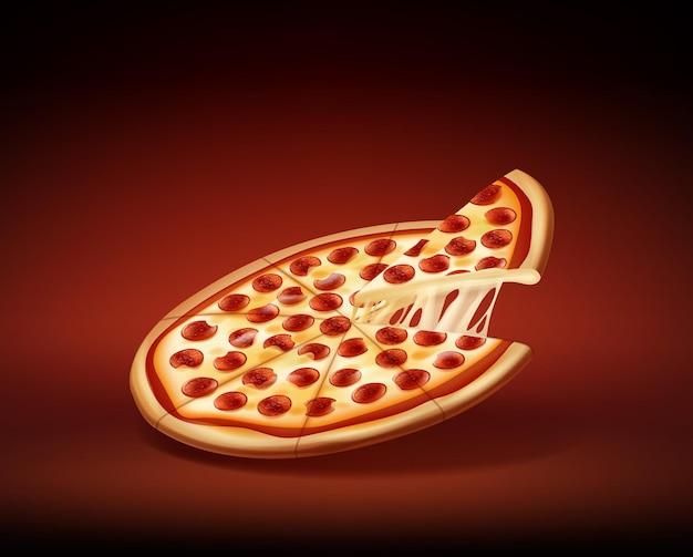 Okrągła pizza pepperoni z jednym kawałkiem pokrojonym
