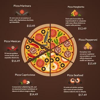 Okrągła pizza z różnymi rodzajami plasterków i składników w stylu płaski. owoce morza i margherita, capricciosa i pepperoni, meksykańska i marinara