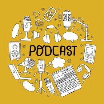 Okrągła plakietka podcastu z odręcznym napisem i elementami technicznymi. symbole tekstu i podcasty mikrofonu, zestawu słuchawkowego, telefonu na białym tle na żółtym tle. koncepcja szkic dodole kształt koła.