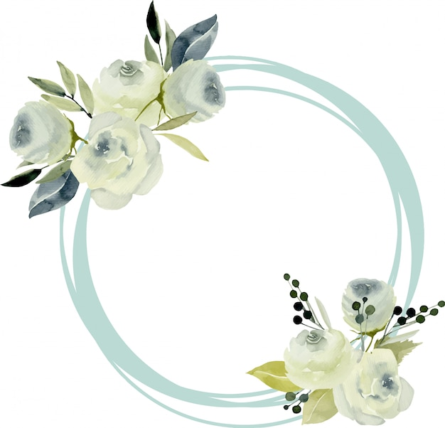 Okrągła rama granicy z akwarela białe róże