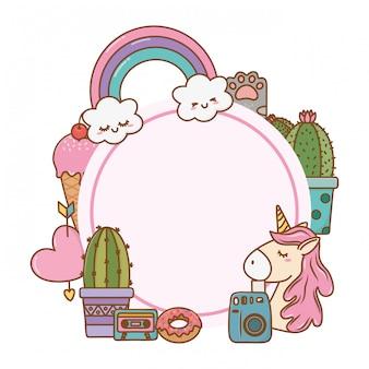 Okrągła rama kawaii cartoon