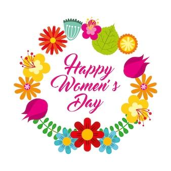 Okrągła rama kwiatowy delikatny dzień szczęśliwy dzień kobiet