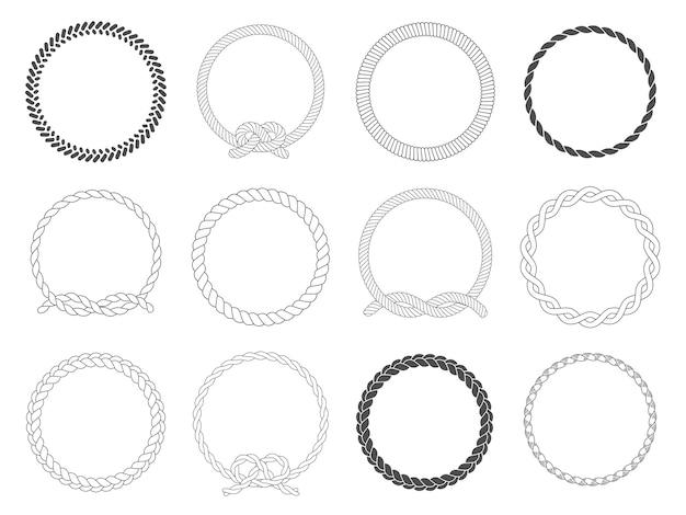 Okrągła rama liny. koło liny, zaokrąglone obramowanie i ozdobne ramki morskie kabel koła na białym tle zestaw