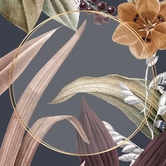Okrągła rama na tropikalnym wektorze tła