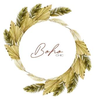 Okrągła rama ozdobiona akwarelowymi suszonymi liśćmi palmowymi