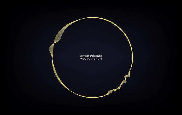 Okrągła rama przez złote faliste linie izolowane na ciemnym turkusowym tle gradientowym z miejscem na tekst. element projektu wektor