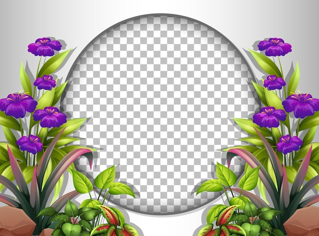Okrągła rama przezroczysta z fioletowym szablonem kwiatów i liści