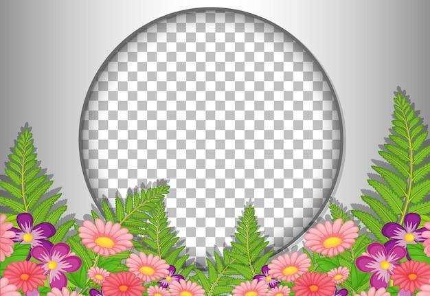 Okrągła rama przezroczysta z szablonem tropikalnych kwiatów i liści