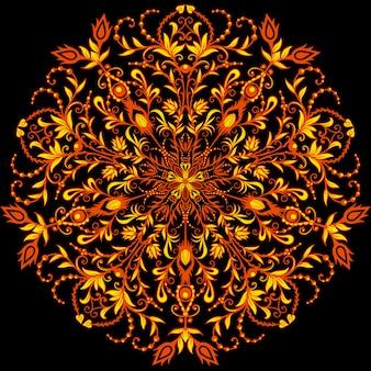 Okrągła rama pszczół i krople miodu. owady w dekorach khokhloma na letnie i wiosenne motywy.