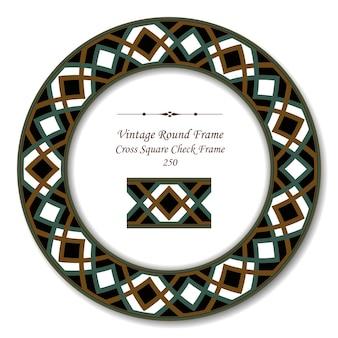 Okrągła rama retro vintage cross square check frame