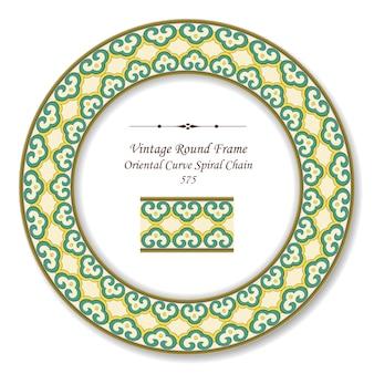 Okrągła rama retro vintage, orientalny łańcuch krzywej spirali