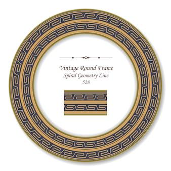 Okrągła rama retro vintage złota spirala geometria krzyż linii