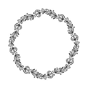 Okrągła rama ślubna kwiaty