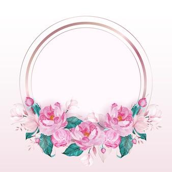Okrągła rama w kolorze różowego złota ozdobiona różowym kwiatkiem w stylu przypominającym akwarele dla karty z zaproszeniem na ślub