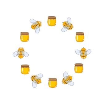 Okrągła rama wektorowa pszczół i miodu projektowanie logo dla pasiek rolniczych