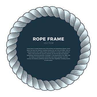 Okrągła rama wykonana z liny z węzłem. ręcznie rysowane tła
