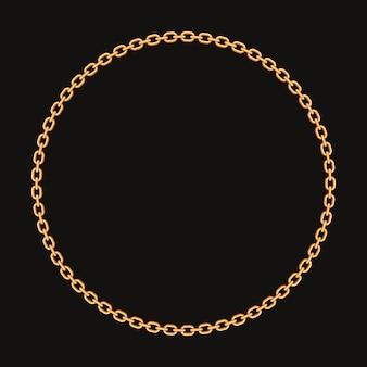 Okrągła rama wykonana ze złotego łańcuszka.