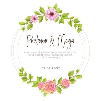 Okrągła rama z akwarela róż