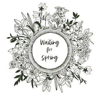 Okrągła rama z liny i drobne kwiatki
