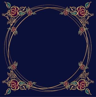 Okrągła rama z różami