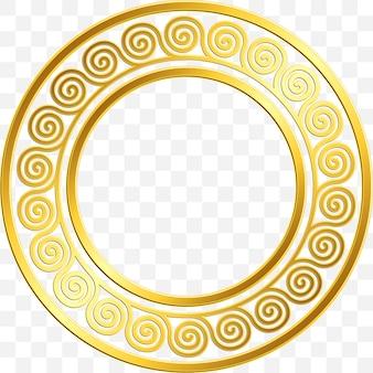 Okrągła Rama Z Tradycyjnym Złotym Greckim Ornamentem, Wzór Meander Premium Wektorów