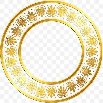 Okrągła rama z tradycyjnym złotym greckim ornamentem, wzór meander