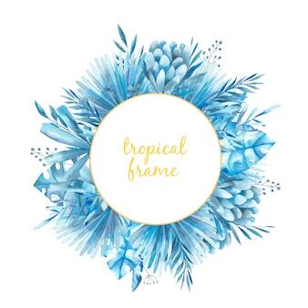 Okrągła rama z tropikalnymi liśćmi i kwiatami protea, ilustracja akwarela.