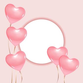 Okrągła rama z widokiem z góry, wyświetlacz, podium, z balonami w kształcie serca