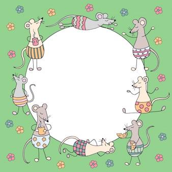 Okrągła rama z zabawnymi ślicznymi szczurami i myszami oraz kolorowymi kwiatami na zielonym tle, symbol 2020