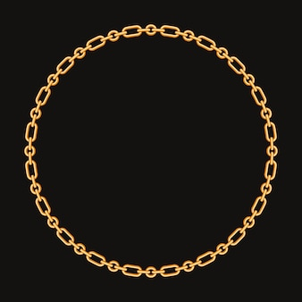 Okrągła rama ze złotym łańcuchem. na czarno