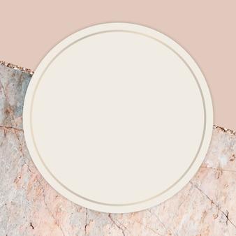Okrągła ramka na marmurkowym tle