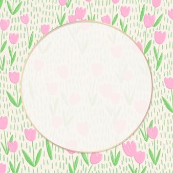 Okrągła ramka na tle pola tulipanów