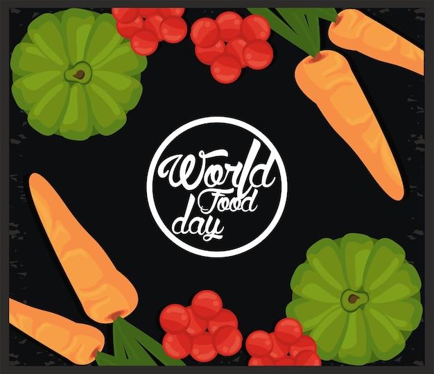Okrągła ramka światowego dnia żywności z warzywami w czarnej ilustracji